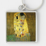 The Kiss by Gustav Klimt Silver-Colored Square Keychain