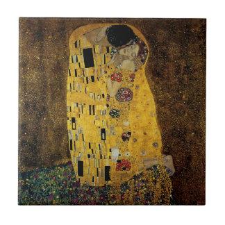 The Kiss by Gustav Klimt Small Square Tile