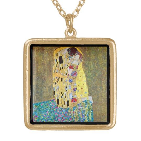 The Kiss by Gustav Klimt, Vintage Art Nouveau Gold Plated Necklace
