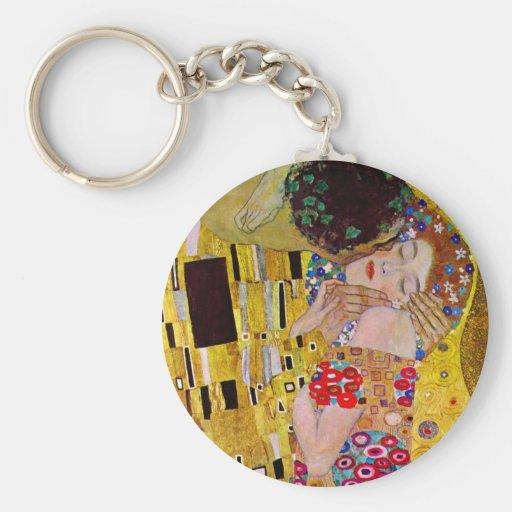 The Kiss by Gustav Klimt, Vintage Art Nouveau Basic Round Button Keychain