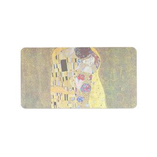 The Kiss by Gustav Klimt, Vintage Art Nouveau Label