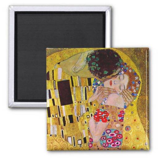 The Kiss by Gustav Klimt, Vintage Art Nouveau Refrigerator Magnets