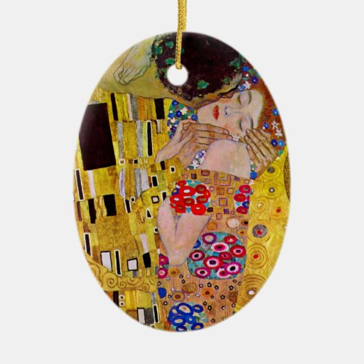 The Kiss by Gustav Klimt, Vintage Art Nouveau Double-Sided Oval Ceramic Christmas Ornament