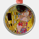The Kiss by Gustav Klimt, Vintage Art Nouveau Round Metal Christmas Ornament