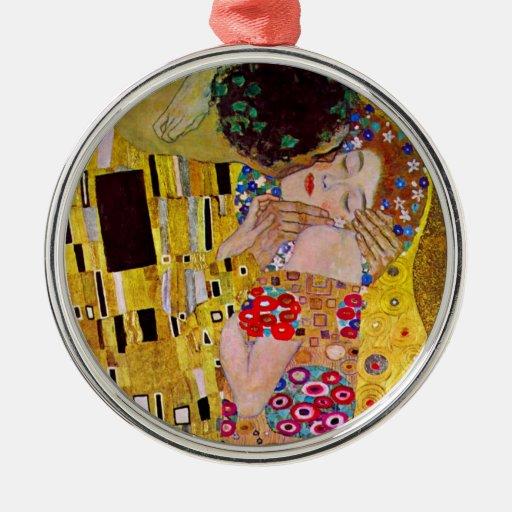 The Kiss by Gustav Klimt, Vintage Art Nouveau Christmas Ornaments