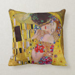 The Kiss by Gustav Klimt, Vintage Art Nouveau Pillows