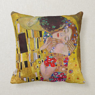 The Kiss by Gustav Klimt, Vintage Art Nouveau Throw Pillow