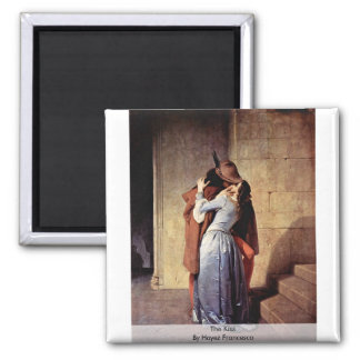 The Kiss By Hayez Francesco 2 Inch Square Magnet