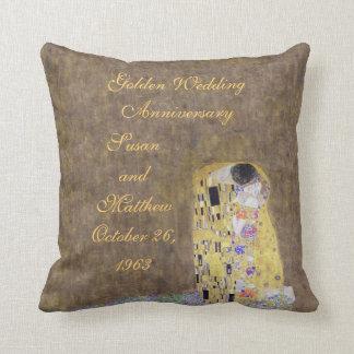 The Kiss by Klimt Golden Wedding Anniversary Custo Pillow