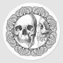 skull, framed, ornate, death, bones, kiss, skulls, ross farrell, frox, spells, zygomatic arch, rock music, nasal bone, shock rock, os nasale, music recording sales certification, metacarpal, fire breathing, metacarpal bone, pyrotechnics, arcus zygomaticus, bonelet, os palatinum, tympanic bone, pubis, comic book, ossiculum, zygoma, nostalgia, palatine bone, Eric Singer, hyoid bone, Tommy Thayer, os hyoideum, Sticker with custom graphic design