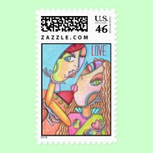 The Kiss ~ Cubist LOVE Stamp - Perfect for the contemporary couple! This stamp features original artwork in a cubist style.