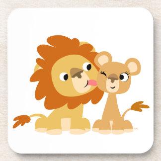 The Kiss: Cute Cartoon Lion Couple Coasters