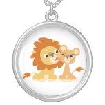 The Kiss: Cute Cartoon Lion Couple Necklace