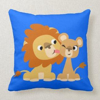 The Kiss: Cute Cartoon Lion Couple Pillow