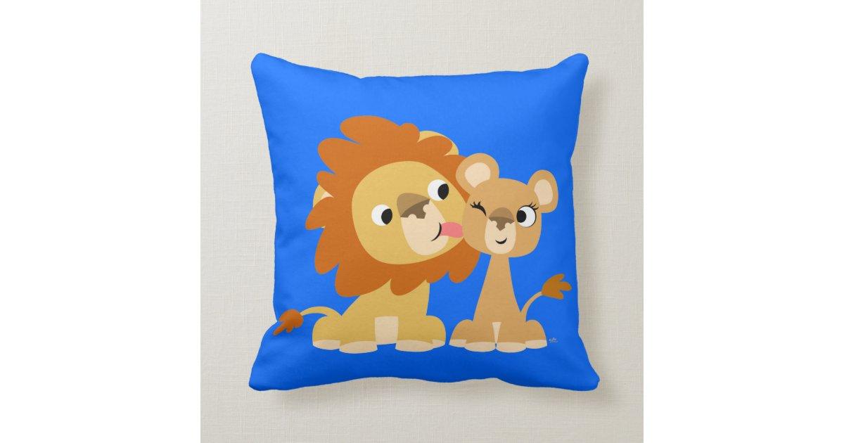 Cute Pillows For Couples : The Kiss: Cute Cartoon Lion Couple Pillow Zazzle
