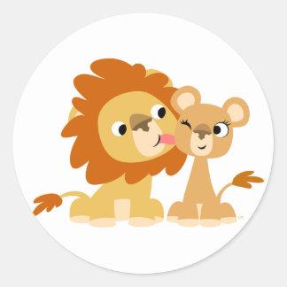 The Kiss: Cute Cartoon Lion Couple Sticker