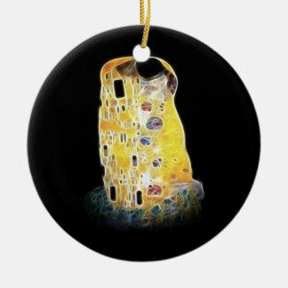 The Kiss Gustav Klimt Yellow Digital Painting Ceramic Ornament