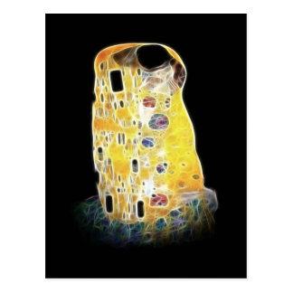 The Kiss Gustav Klimt Yellow Digital Painting Postcard