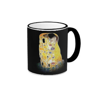 The Kiss Gustav Klimt Yellow Digital Painting Ringer Mug