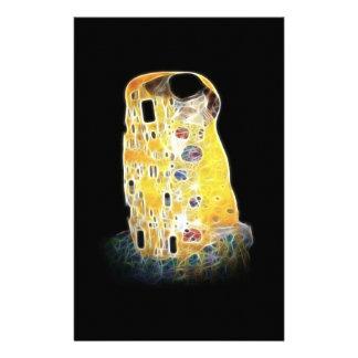The Kiss Gustav Klimt Yellow Digital Painting Stationery