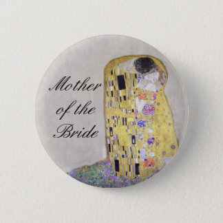 """The Kiss"" Klimt Art Nouveau Wedding Theme White Pinback Button"