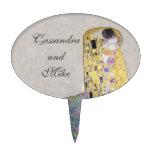 """The Kiss"" Klimt Wedding  Anniversary Art Nouveau Oval Cake Toppers"