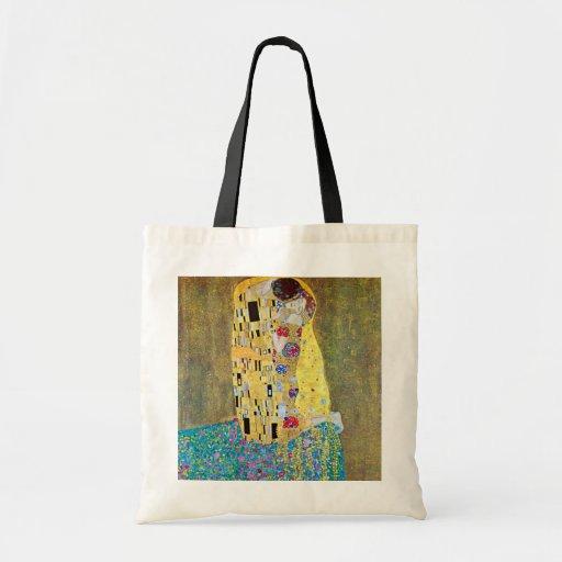 The Kiss (original Der Kuss) by Gustav Klimt Canvas Bag
