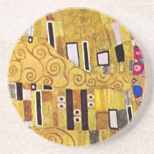The Kiss Pattern by Gustav Klimt, Art Nouveau Coaster