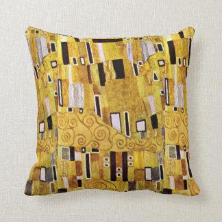 The Kiss Pattern by Gustav Klimt, Art Nouveau Throw Pillow