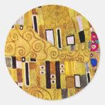 The Kiss Pattern by Gustav Klimt, Art Nouveau Round Stickers