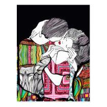 artsprojekt, klimt, love, couple, romantic, woman, female, male, embrace, jugendstil, gustav, beauty, remake, romance, portrait, illustration, nouveau, kiss, lovers, women, girl, Postcard with custom graphic design