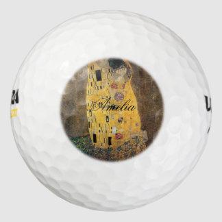 The Kiss, ,reproduction,Gustav Klimt painting,art, Pack Of Golf Balls