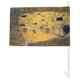 The Kiss, ,reproduction,Gustav Klimt painting,art, Car Flag