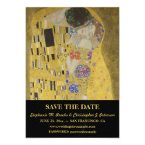 """The Kiss"" Save the Date w/ Website Magnetic Card"
