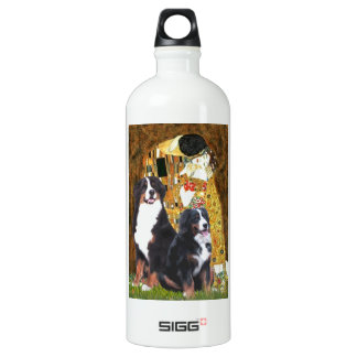 The Kiss - Two Bernese Mountain Dogs Aluminum Water Bottle