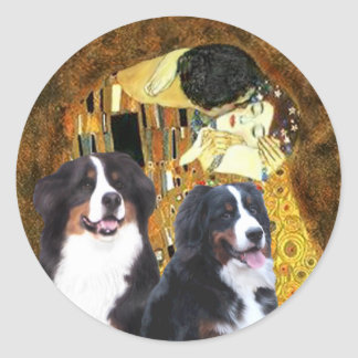 The Kiss - Two Bernese Mountain Dogs Classic Round Sticker