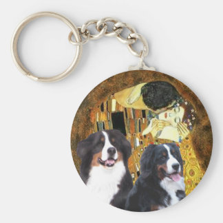 The Kiss - Two Bernese Mountain Dogs Keychain