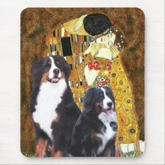 The Kiss - Two Bernese Mountain Dogs Mouse Pad