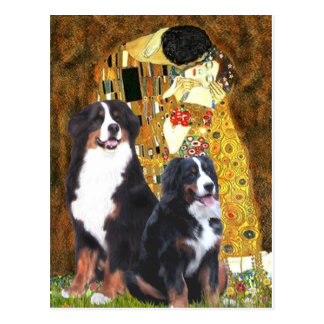 The Kiss - Two Bernese Mountain Dogs Postcard