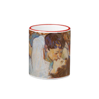 The Kiss - Vintage Art by Toulouse-Lautrec Ringer Mug