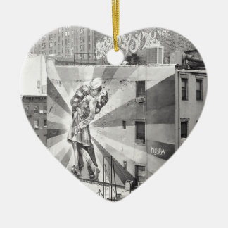 The Kissers photograph mural, Highline NYC Ceramic Ornament