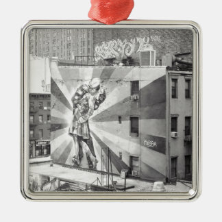 The Kissers photograph mural, Highline NYC Metal Ornament