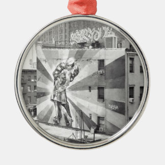 The Kissers photograph mural, Highline NYC Round Metal Christmas Ornament