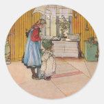 """The Kitchen"" by Carl Larsson Art Print Classic Round Sticker"