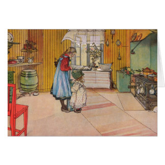 The Kitchen by Carl Larsson Customizable Greeting Card