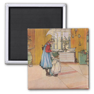 The Kitchen by Carl Larsson Scandinavian 2 Inch Square Magnet