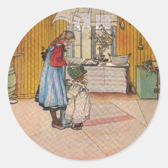 The Kitchen by Carl Larsson Swedish Artist Classic Round Sticker