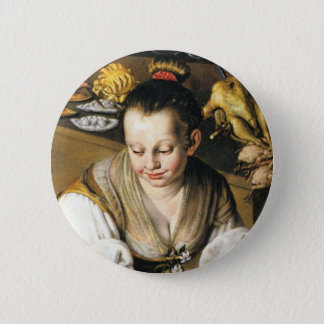 The Kitchen in detail by Vincenzo Campi Pinback Button
