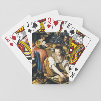 The Kitchen in detail by Vincenzo Campi Playing Cards