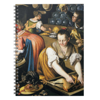 The Kitchen in detail by Vincenzo Campi Spiral Notebook